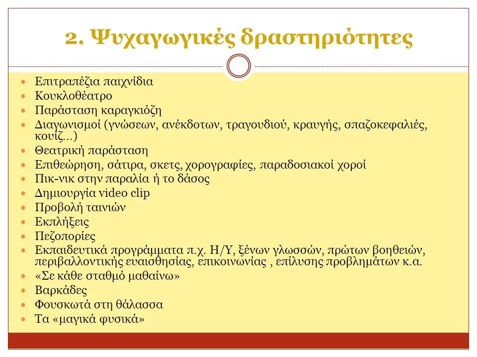 2. Ψυχαγωγικές δραστηριότητες Επιτραπέζια παιχνίδια Κουκλοθέατρο Παράσταση καραγκιόζη Διαγωνισμοί (γνώσεων, ανέκδοτων, τραγουδιού, κραυγής, σπαζοκεφαλ