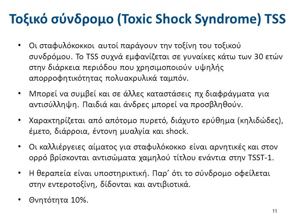 Τοξικό σύνδρομο (Toxic Shock Syndrome) TSS Οι σταφυλόκοκκοι αυτοί παράγουν την τοξίνη του τοξικού συνδρόμου. Το TSS συχνά εμφανίζεται σε γυναίκες κάτω