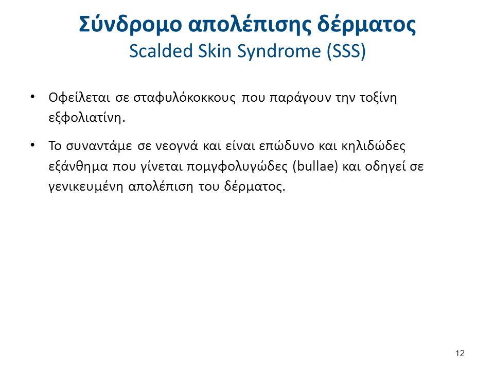 Σύνδρομο απολέπισης δέρματος Scalded Skin Syndrome (SSS) Οφείλεται σε σταφυλόκοκκους που παράγουν την τοξίνη εξφολιατίνη. Το συναντάμε σε νεογνά και ε
