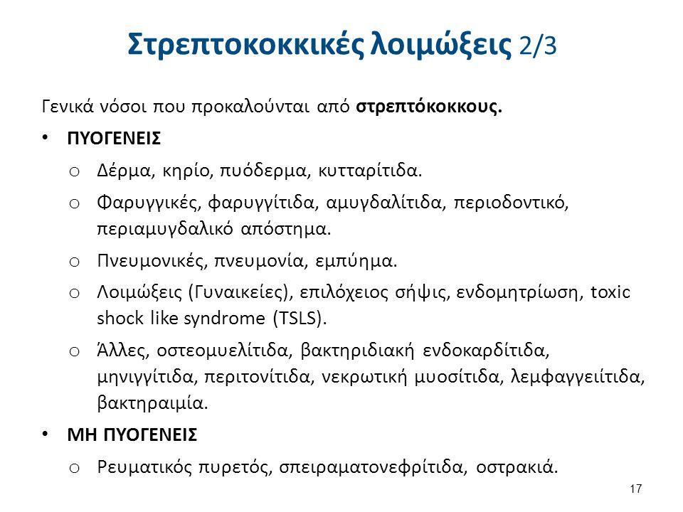 Στρεπτοκοκκικές λοιμώξεις 2/3 Γενικά νόσοι που προκαλούνται από στρεπτόκοκκους. ΠΥΟΓΕΝΕΙΣ o Δέρμα, κηρίο, πυόδερμα, κυτταρίτιδα. o Φαρυγγικές, φαρυγγί