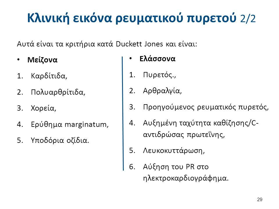 Κλινική εικόνα ρευματικού πυρετού 2/2 Αυτά είναι τα κριτήρια κατά Duckett Jones και είναι: Μείζονα 1.Καρδίτιδα, 2.Πολυαρθρίτιδα, 3.Χορεία, 4.Ερύθημα m