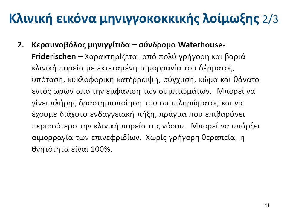 Κλινική εικόνα μηνιγγοκοκκικής λοίμωξης 2/3 2.Κεραυνοβόλος μηνιγγίτιδα – σύνδρομο Waterhouse- Friderischen – Χαρακτηρίζεται από πολύ γρήγορη και βαριά