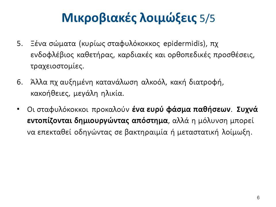 Μικροβιακές λοιμώξεις 5/5 5.Ξένα σώματα (κυρίως σταφυλόκοκκος epidermidis), πχ ενδοφλέβιος καθετήρας, καρδιακές και ορθοπεδικές προσθέσεις, τραχειοστο