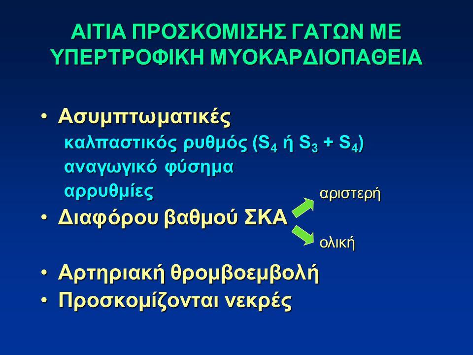ΑΙΤΙΑ ΠΡΟΣΚΟΜΙΣΗΣ ΓΑΤΩΝ ΜΕ ΥΠΕΡΤΡΟΦΙΚΗ ΜΥΟΚΑΡΔΙΟΠΑΘΕΙΑ ΑσυμπτωματικέςΑσυμπτωματικές καλπαστικός ρυθμός (S 4 ή S 3 + S 4 ) αναγωγικό φύσημα αρρυθμίες Διαφόρου βαθμού ΣΚΑΔιαφόρου βαθμού ΣΚΑ Αρτηριακή θρομβοεμβολήΑρτηριακή θρομβοεμβολή Προσκομίζονται νεκρέςΠροσκομίζονται νεκρές αριστερή ολική
