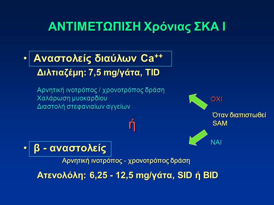 ΑΝΤΙΜΕΤΩΠΙΣΗ Χρόνιας ΣΚΑ Ι Αναστολείς διαύλων Ca ++Αναστολείς διαύλων Ca ++ Διλτιαζέμη: 7,5 mg/γάτα, TID β - αναστολείςβ - αναστολείς Ατενολόλη: 6,25 - 12,5 mg/γάτα, SID ή BID Αρνητική ινοτρόπος - χρονοτρόπος δράση Αρνητική ινοτρόπος / χρονοτρόπος δράση Χαλάρωση μυοκαρδίου Διαστολή στεφανιαίων αγγείων ή Όταν διαπιστωθεί SAM OXI NAI