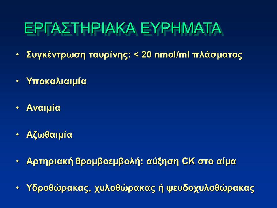 Συγκέντρωση ταυρίνης: < 20 nmol/ml πλάσματοςΣυγκέντρωση ταυρίνης: < 20 nmol/ml πλάσματος ΥποκαλιαιμίαΥποκαλιαιμία ΑναιμίαΑναιμία ΑζωθαιμίαΑζωθαιμία Αρτηριακή θρομβοεμβολή: αύξηση CK στο αίμαΑρτηριακή θρομβοεμβολή: αύξηση CK στο αίμα Υδροθώρακας, χυλοθώρακας ή ψευδοχυλοθώρακαςΥδροθώρακας, χυλοθώρακας ή ψευδοχυλοθώρακας ΕΡΓΑΣΤΗΡΙΑΚΑ ΕΥΡΗΜΑΤΑ