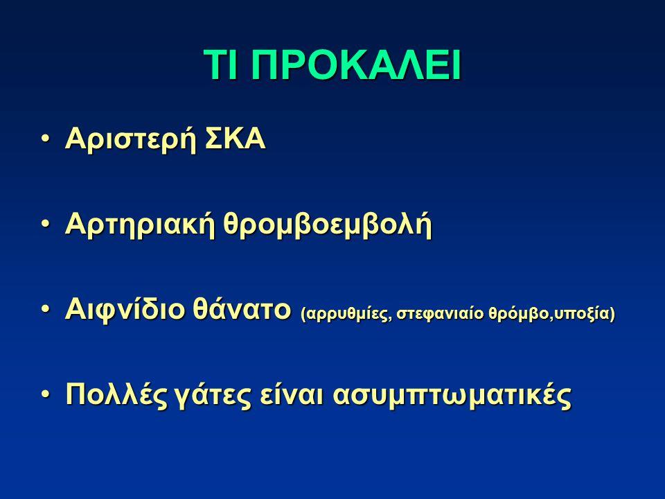 ΤΙ ΠΡΟΚΑΛΕΙ Αριστερή ΣΚΑΑριστερή ΣΚΑ Αρτηριακή θρομβοεμβολήΑρτηριακή θρομβοεμβολή Αιφνίδιο θάνατο (αρρυθμίες, στεφανιαίο θρόμβο,υποξία)Αιφνίδιο θάνατο (αρρυθμίες, στεφανιαίο θρόμβο,υποξία) Πολλές γάτες είναι ασυμπτωματικέςΠολλές γάτες είναι ασυμπτωματικές