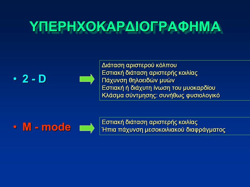 ΥΠΕΡΗΧΟΚΑΡΔΙΟΓΡΑΦΗΜΑΥΠΕΡΗΧΟΚΑΡΔΙΟΓΡΑΦΗΜΑ 2 - D2 - D M - modeM - mode Διάταση αριστερού κόλπου Εστιακή διάταση αριστερής κοιλίας Πάχυνση θηλοειδών μυών Εστιακή ή διάχυτη ίνωση του μυοκαρδίου Κλάσμα σύντμησης: συνήθως φυσιολογικό Εστιακή διάταση αριστερής κοιλίας Ήπια πάχυνση μεσοκοιλιακού διαφράγματος