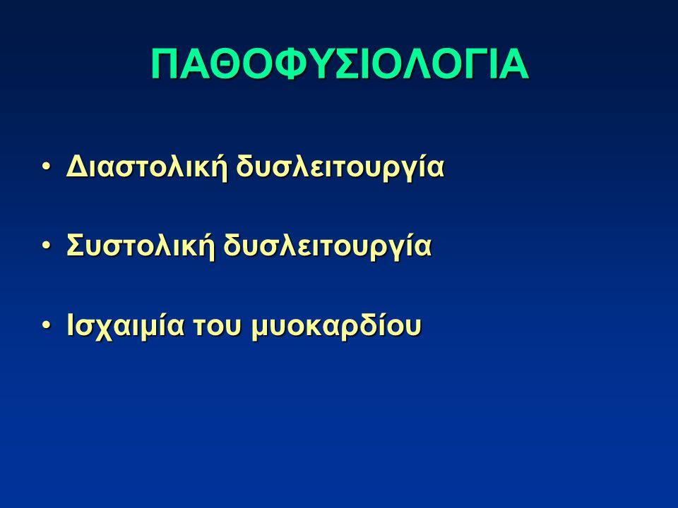 ΠΑΘΟΦΥΣΙΟΛΟΓΙΑ Διαστολική δυσλειτουργίαΔιαστολική δυσλειτουργία Συστολική δυσλειτουργίαΣυστολική δυσλειτουργία Ισχαιμία του μυοκαρδίουΙσχαιμία του μυοκαρδίου