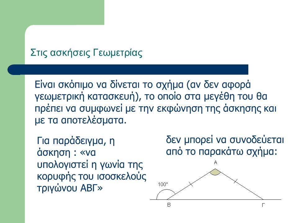 Στις ασκήσεις Γεωμετρίας Είναι σκόπιμο να δίνεται το σχήμα (αν δεν αφορά γεωμετρική κατασκευή), το οποίο στα μεγέθη του θα πρέπει να συμφωνεί με την ε