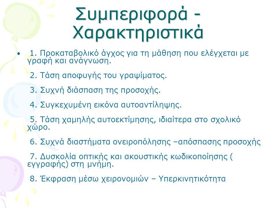 Συμπεριφορά - Χαρακτηριστικά 1.