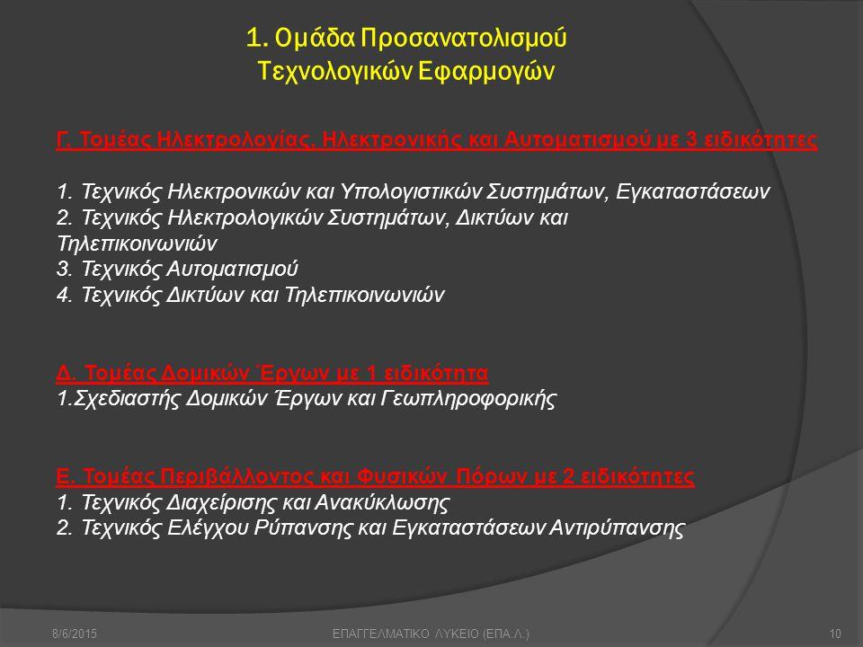 1.Ομάδα Προσανατολισμού Τεχνολογικών Εφαρμογών 8/6/201510ΕΠΑΓΓΕΛΜΑΤΙΚΟ ΛΥΚΕΙΟ (ΕΠΑ.Λ.) Γ.
