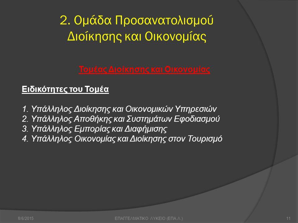 2. Ομάδα Προσανατολισμού Διοίκησης και Οικονομίας 8/6/201511ΕΠΑΓΓΕΛΜΑΤΙΚΟ ΛΥΚΕΙΟ (ΕΠΑ.Λ.) Τομέας Διοίκησης και Οικονομίας Ειδικότητες του Τομέα 1. Υπά