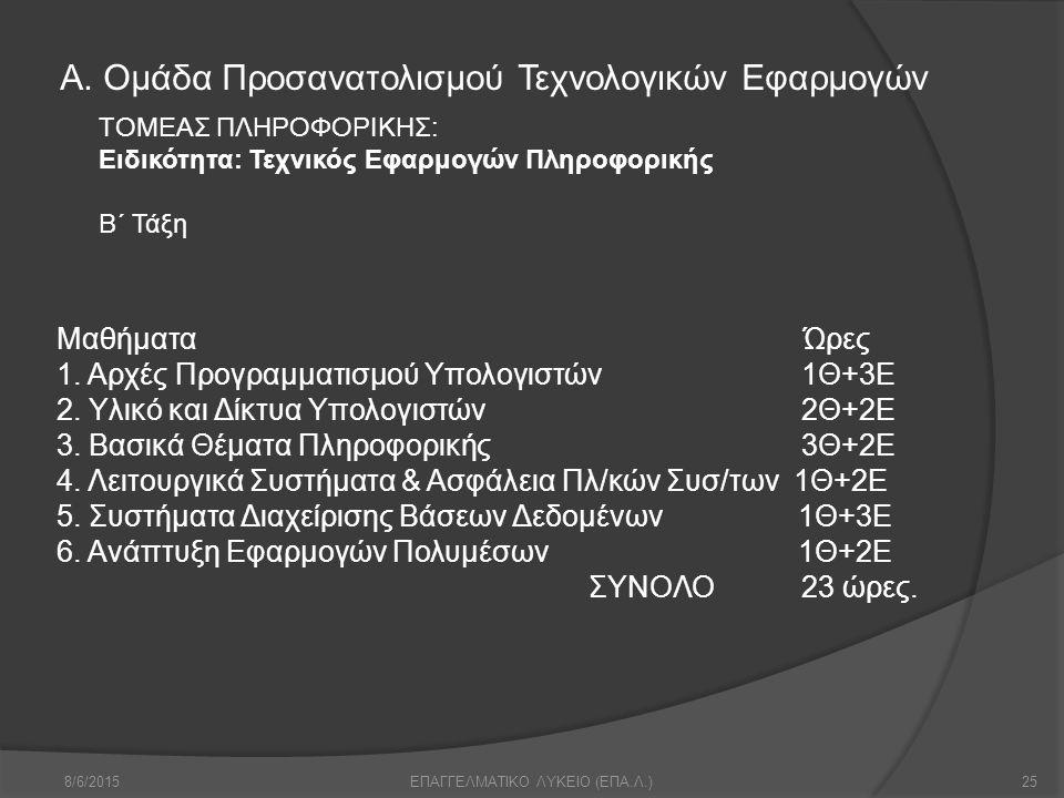 Α. Ομάδα Προσανατολισμού Τεχνολογικών Εφαρμογών 8/6/201525ΕΠΑΓΓΕΛΜΑΤΙΚΟ ΛΥΚΕΙΟ (ΕΠΑ.Λ.) Μαθήματα Ώρες 1. Αρχές Προγραμματισμού Υπολογιστών1Θ+3Ε 2. Υλι