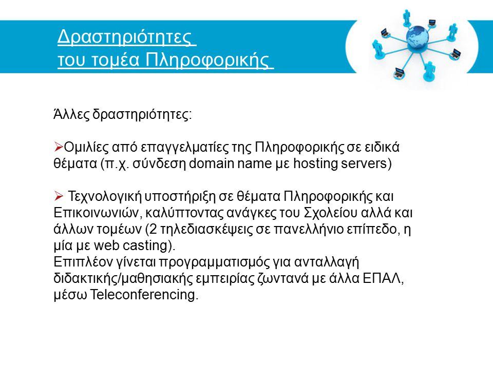Free Powerpoint Templates Άλλες δραστηριότητες:  Ομιλίες από επαγγελματίες της Πληροφορικής σε ειδικά θέματα (π.χ.