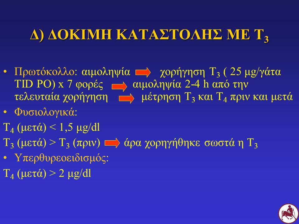 Δ) ΔΟΚΙΜΗ ΚΑΤΑΣΤΟΛΗΣ ΜΕ Τ 3 Πρωτόκολλο: αιμοληψία χορήγηση Τ 3 ( 25 μg/γάτα TID PO) x 7 φορές αιμοληψία 2-4 h από την τελευταία χορήγηση μέτρηση Τ 3 κ