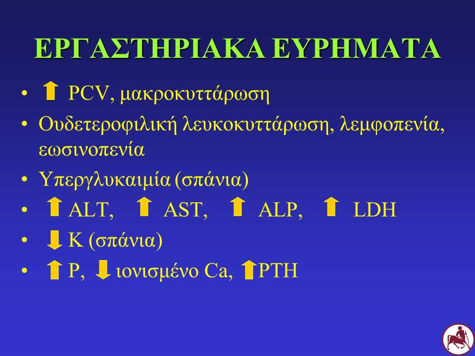 ΕΡΓΑΣΤΗΡΙΑΚΑ ΕΥΡΗΜΑΤΑ PCV, μακροκυττάρωση Ουδετεροφιλική λευκοκυττάρωση, λεμφοπενία, εωσινοπενία Υπεργλυκαιμία (σπάνια) ALT,AST,ALP,LDH Κ (σπάνια) Ρ,