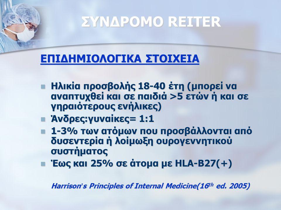 ΣΥΝΔΡΟΜΟ REITER ΕΠΙΔΗΜΙΟΛΟΓΙΚΑ ΣΤΟΙΧΕΙΑ Ηλικία προσβολής 18-40 έτη (μπορεί να αναπτυχθεί και σε παιδιά >5 ετών ή και σε γηραιότερους ενήλικες) Ηλικία προσβολής 18-40 έτη (μπορεί να αναπτυχθεί και σε παιδιά >5 ετών ή και σε γηραιότερους ενήλικες) Άνδρες:γυναίκες= 1:1 Άνδρες:γυναίκες= 1:1 1-3% των ατόμων που προσβάλλονται από δυσεντερία ή λοίμωξη ουρογεννητικού συστήματος 1-3% των ατόμων που προσβάλλονται από δυσεντερία ή λοίμωξη ουρογεννητικού συστήματος Έως και 25% σε άτομα με HLA-B27(+) Έως και 25% σε άτομα με HLA-B27(+) Harrison ' s Principles of Internal Medicine(16 th ed.