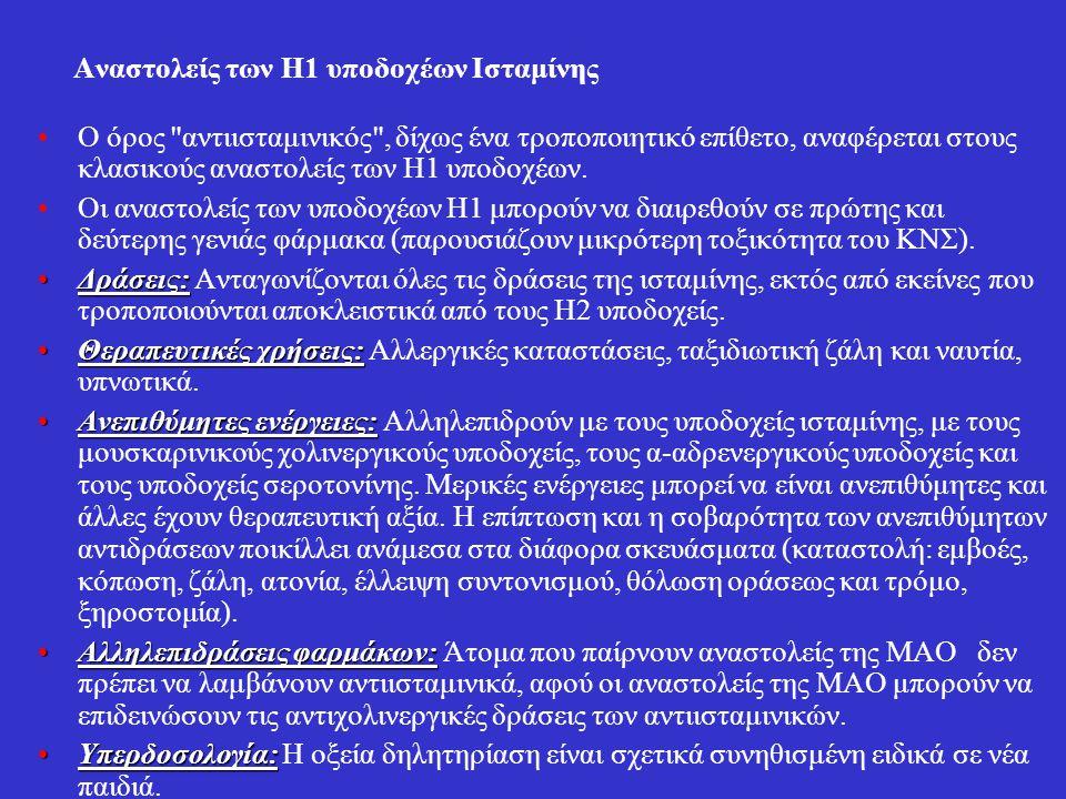 Αναστολείς των Η1 υποδοχέων Ισταμίνης Ο όρος αντιισταμινικός , δίχως ένα τροποποιητικό επίθετο, αναφέρεται στους κλασικούς αναστολείς των Η1 υποδοχέων.