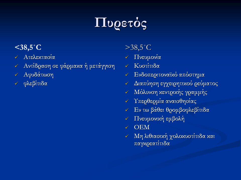 Πυρετός <38,5˚C Ατελεκτασία Ατελεκτασία Αντίδραση σε φάρμακα ή μετάγγιση Αντίδραση σε φάρμακα ή μετάγγιση Αφυδάτωση Αφυδάτωση φλεβίτιδα φλεβίτιδα >38,