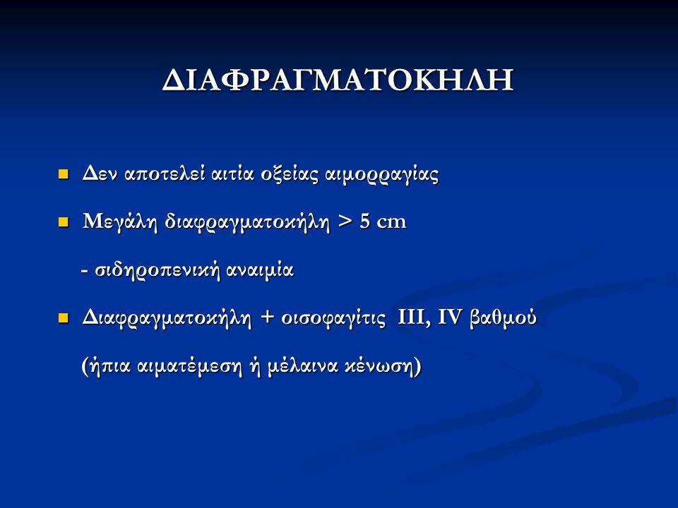 ΔΙΑΦΡΑΓΜΑΤΟΚΗΛΗ Δεν αποτελεί αιτία οξείας αιμορραγίας Δεν αποτελεί αιτία οξείας αιμορραγίας Μεγάλη διαφραγματοκήλη > 5 cm Μεγάλη διαφραγματοκήλη > 5 c
