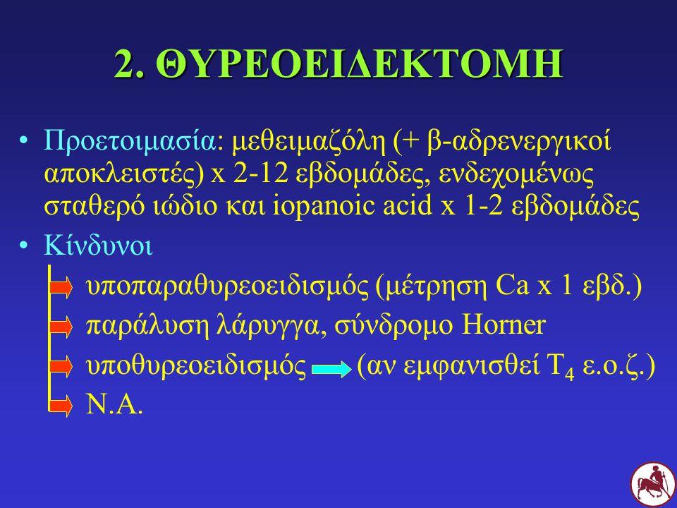 2. ΘΥΡΕΟΕΙΔΕΚΤΟΜΗ Προετοιμασία: μεθειμαζόλη (+ β-αδρενεργικοί αποκλειστές) x 2-12 εβδομάδες, ενδεχομένως σταθερό ιώδιο και iopanoic acid x 1-2 εβδομάδ