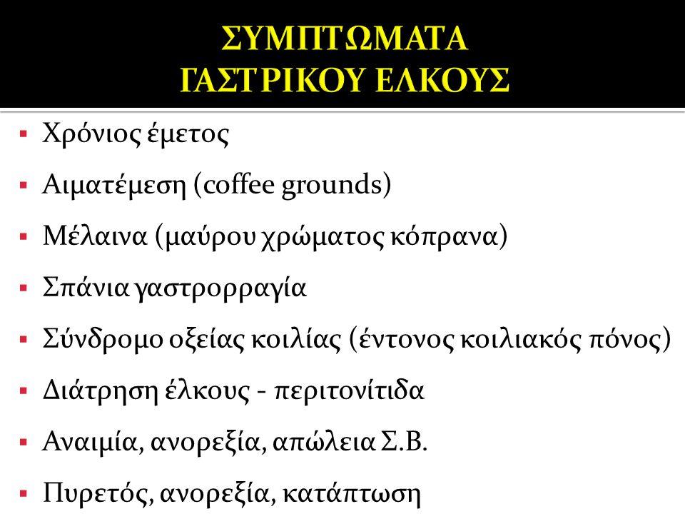  Χρόνιος έμετος  Αιματέμεση (coffee grounds)  Μέλαινα (μαύρου χρώματος κόπρανα)  Σπάνια γαστρορραγία  Σύνδρομο οξείας κοιλίας (έντονος κοιλιακός