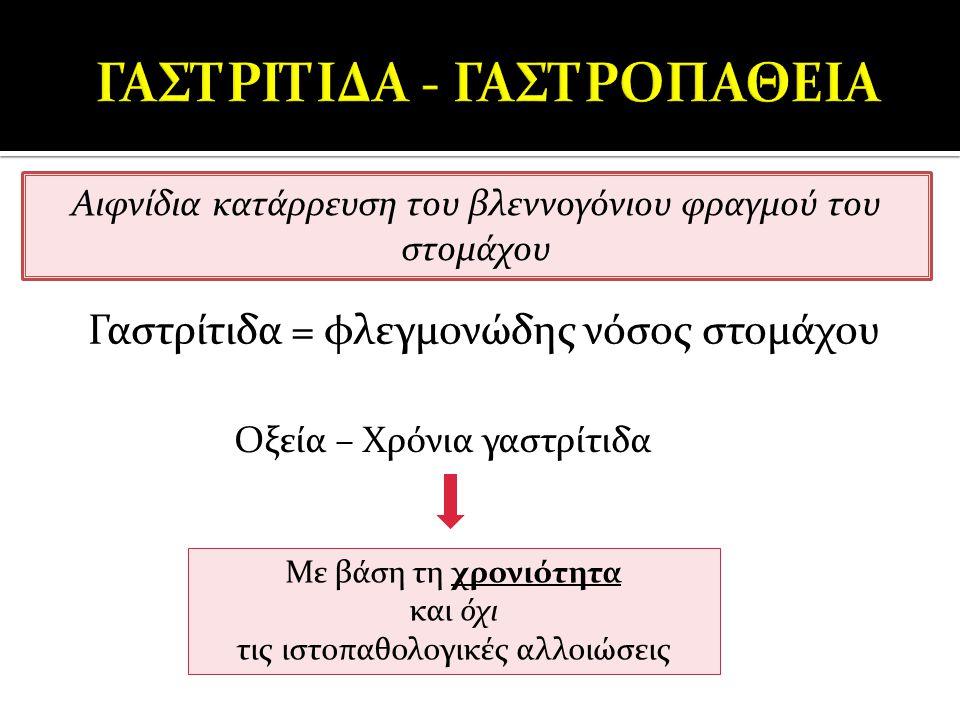 Γαστρίτιδα = φλεγμονώδης νόσος στομάχου Αιφνίδια κατάρρευση του βλεννογόνιου φραγμού του στομάχου Οξεία – Χρόνια γαστρίτιδα Με βάση τη χρονιότητα και