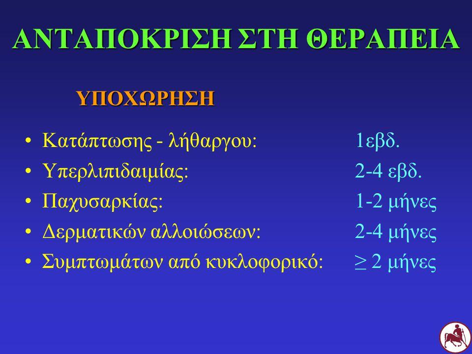 ΑΝΤΑΠΟΚΡΙΣΗ ΣΤΗ ΘΕΡΑΠΕΙΑ Κατάπτωσης - λήθαργου:1εβδ. Υπερλιπιδαιμίας:2-4 εβδ. Παχυσαρκίας: 1-2 μήνες Δερματικών αλλοιώσεων: 2-4 μήνες Συμπτωμάτων από