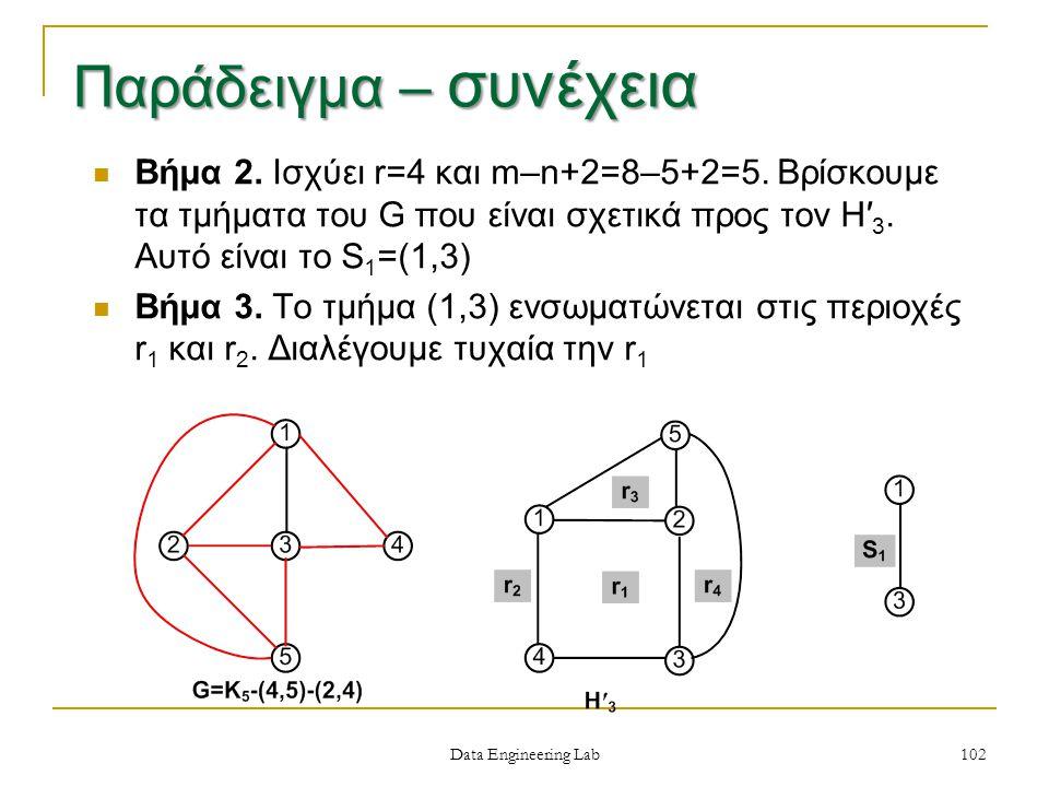 Data Engineering Lab Βήμα 2. Ισχύει r=4 και m–n+2=8–5+2=5.