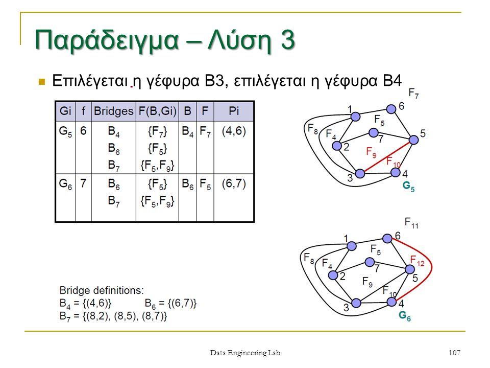 Data Engineering Lab Επιλέγεται η γέφυρα Β3, επιλέγεται η γέφυρα Β4 107 Παράδειγμα – Λύση 3