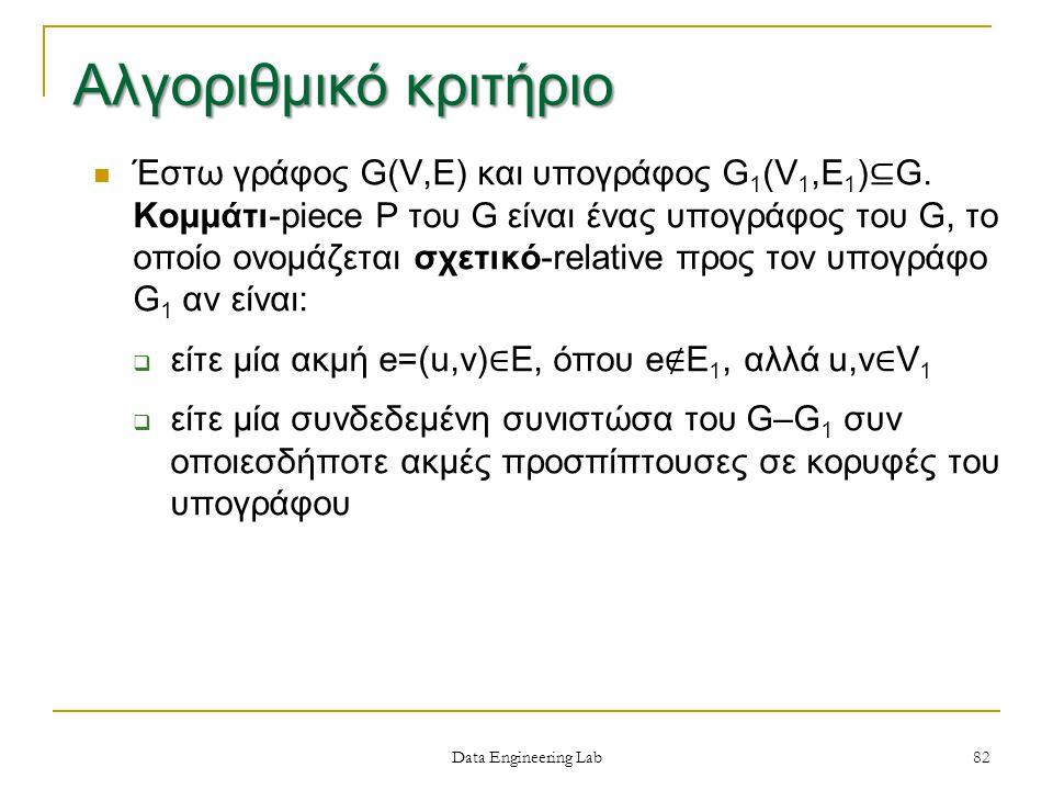 Data Engineering Lab Έστω γράφος G(V,E) και υπογράφος G 1 (V 1,E 1 ) ⊆ G.