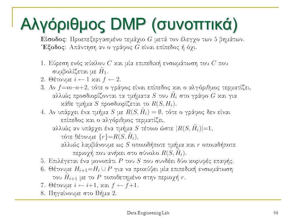 Data Engineering Lab 96 Αλγόριθμος DMP (συνοπτικά)