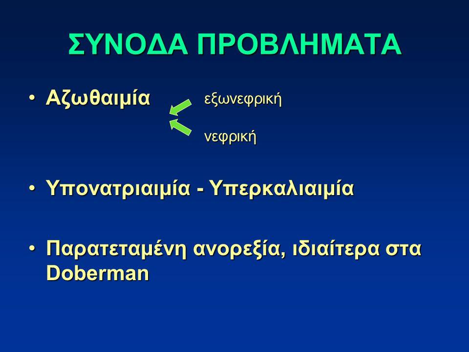 ΣΥΝΟΔΑ ΠΡΟΒΛΗΜΑΤΑ ΑζωθαιμίαΑζωθαιμία Υπονατριαιμία - ΥπερκαλιαιμίαΥπονατριαιμία - Υπερκαλιαιμία Παρατεταμένη ανορεξία, ιδιαίτερα στα DobermanΠαρατεταμ