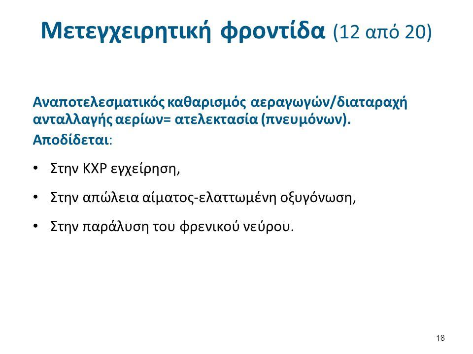 Μετεγχειρητική φροντίδα (12 από 20) Αναποτελεσματικός καθαρισμός αεραγωγών/διαταραχή ανταλλαγής αερίων= ατελεκτασία (πνευμόνων).