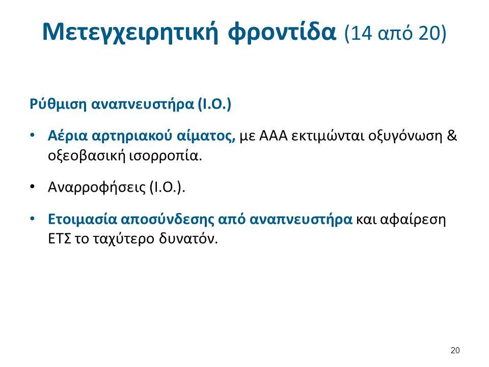 Μετεγχειρητική φροντίδα (14 από 20) Ρύθμιση αναπνευστήρα (Ι.Ο.) Αέρια αρτηριακού αίματος, με ΑΑΑ εκτιμώνται οξυγόνωση & οξεοβασική ισορροπία.