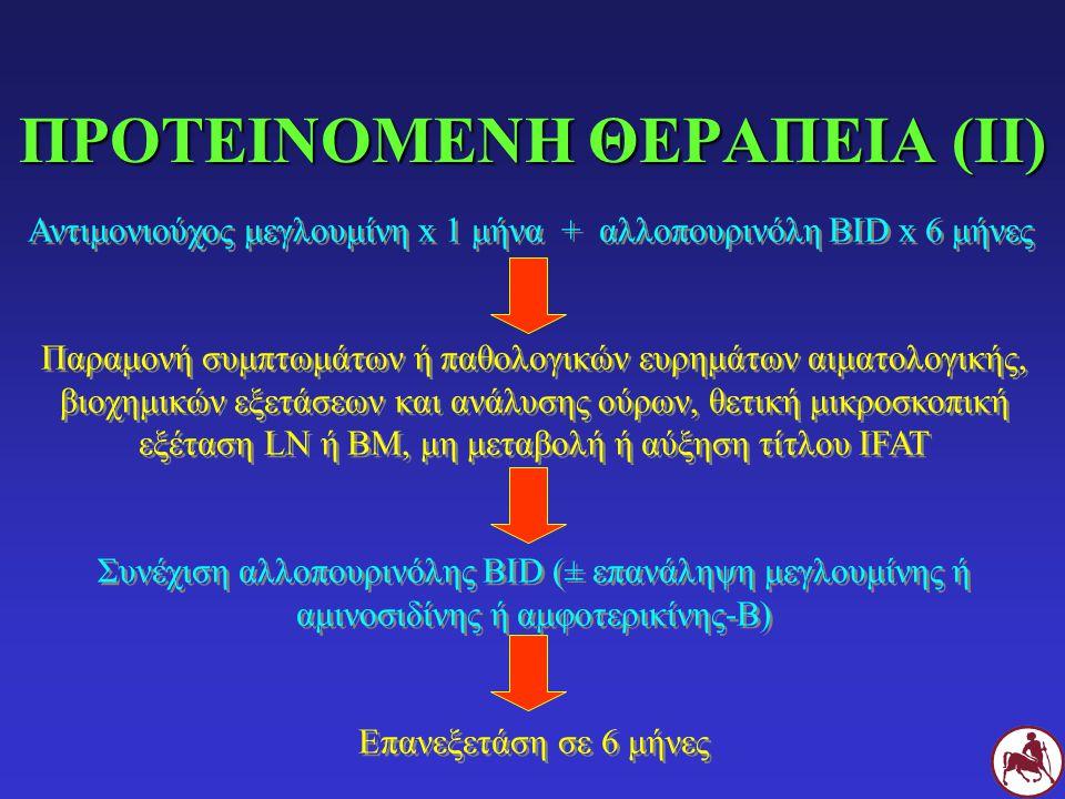 ΠΡΟΤΕΙΝΟΜΕΝΗ ΘΕΡΑΠΕΙΑ (II) Αντιμονιούχος μεγλουμίνη x 1 μήνα + αλλοπουρινόλη BID x 6 μήνες Παραμονή συμπτωμάτων ή παθολογικών ευρημάτων αιματολογικής,
