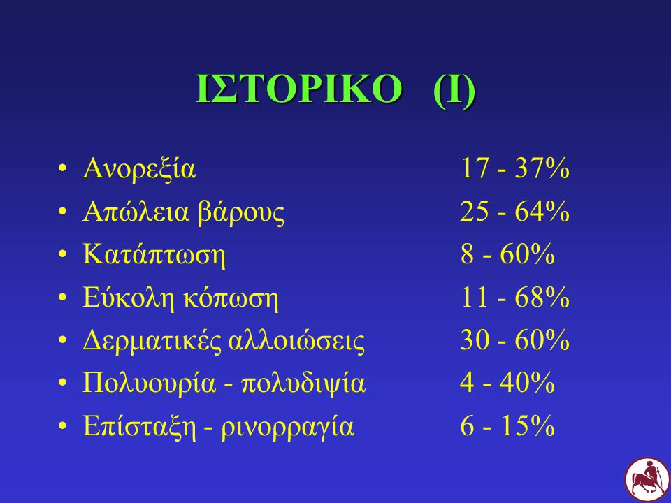 ΙΣΤΟΡΙΚΟ (Ι) Ανορεξία17 - 37% Απώλεια βάρους25 - 64% Κατάπτωση8 - 60% Εύκολη κόπωση11 - 68% Δερματικές αλλοιώσεις30 - 60% Πολυουρία - πολυδιψία4 - 40%