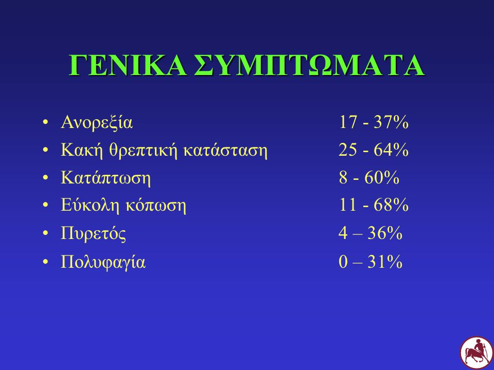 ΓΕΝΙΚΑ ΣΥΜΠΤΩΜΑΤΑ Ανορεξία17 - 37% Κακή θρεπτική κατάσταση25 - 64% Κατάπτωση 8 - 60% Εύκολη κόπωση11 - 68% Πυρετός4 – 36% Πολυφαγία0 – 31%