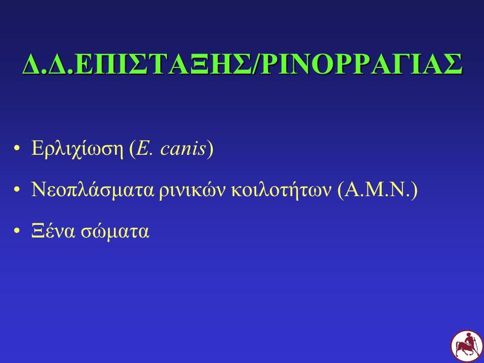 Δ.Δ.ΕΠΙΣΤΑΞΗΣ/ΡΙΝΟΡΡΑΓΙΑΣ Ερλιχίωση (E. canis) Νεοπλάσματα ρινικών κοιλοτήτων (Α.Μ.Ν.) Ξένα σώματα