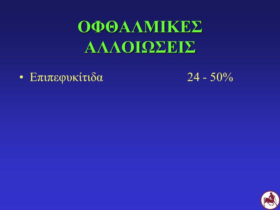 ΟΦΘΑΛΜΙΚΕΣ ΑΛΛΟΙΩΣΕΙΣ Επιπεφυκίτιδα24 - 50%