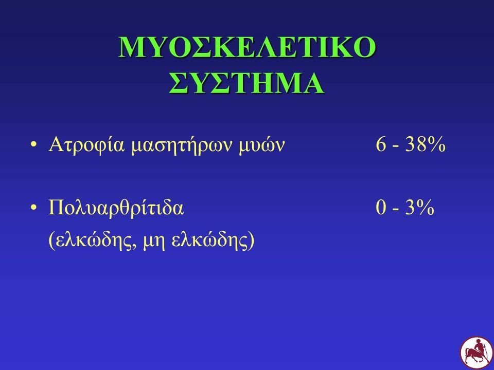 ΜΥΟΣΚΕΛΕΤΙΚΟ ΣΥΣΤΗΜΑ Ατροφία μασητήρων μυών6 - 38% Πολυαρθρίτιδα 0 - 3% (ελκώδης, μη ελκώδης)