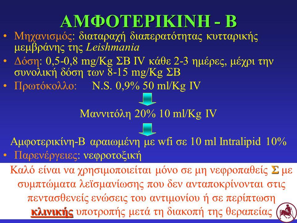 ΑΜΦΟΤΕΡΙΚΙΝΗ - Β Μηχανισμός: διαταραχή διαπερατότητας κυτταρικής μεμβράνης της Leishmania Δόση: 0,5-0,8 mg/Kg ΣΒ IV κάθε 2-3 ημέρες, μέχρι την συνολικ