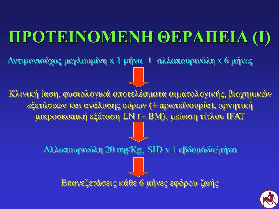 ΠΡΟΤΕΙΝΟΜΕΝΗ ΘΕΡΑΠΕΙΑ (I) Αντιμονιούχος μεγλουμίνη x 1 μήνα + αλλοπουρινόλη x 6 μήνες Κλινική ίαση, φυσιολογικά αποτελέσματα αιματολογικής, βιοχημικών