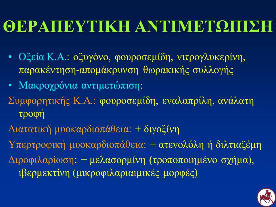 ΘΕΡΑΠΕΥΤΙΚΗ ΑΝΤΙΜΕΤΩΠΙΣΗ Οξεία Κ.Α.: οξυγόνο, φουροσεμίδη, νιτρογλυκερίνη, παρακέντηση-απομάκρυνση θωρακικής συλλογής Μακροχρόνια αντιμετώπιση: Συμφορ