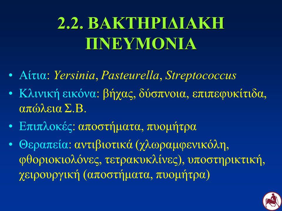 2.2. ΒΑΚΤΗΡΙΔΙΑΚΗ ΠΝΕΥΜΟΝΙΑ Αίτια: Yersinia, Pasteurella, Streptococcus Κλινική εικόνα: βήχας, δύσπνοια, επιπεφυκίτιδα, απώλεια Σ.Β. Επιπλοκές: αποστή