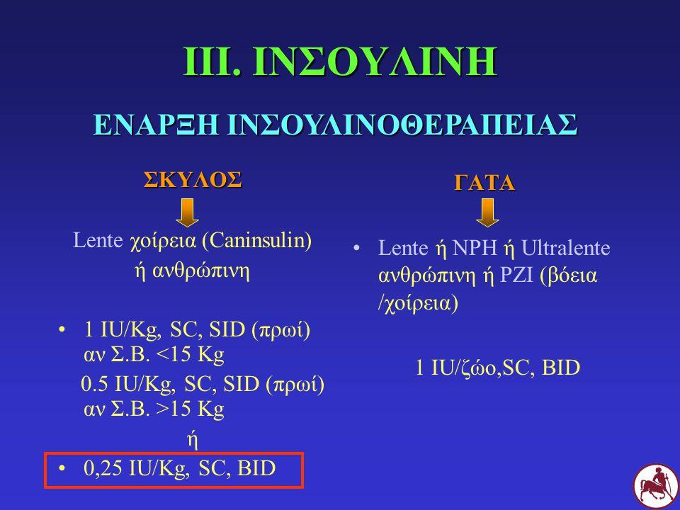 ΙΙΙ. ΙΝΣΟΥΛΙΝΗ ΣΚΥΛΟΣ Lente χοίρεια (Caninsulin) ή ανθρώπινη 1 IU/Κg, SC, SID (πρωί) αν Σ.Β. <15 Κg 0.5 IU/Κg, SC, SID (πρωί) αν Σ.Β. >15 Κg ή 0,25 IU
