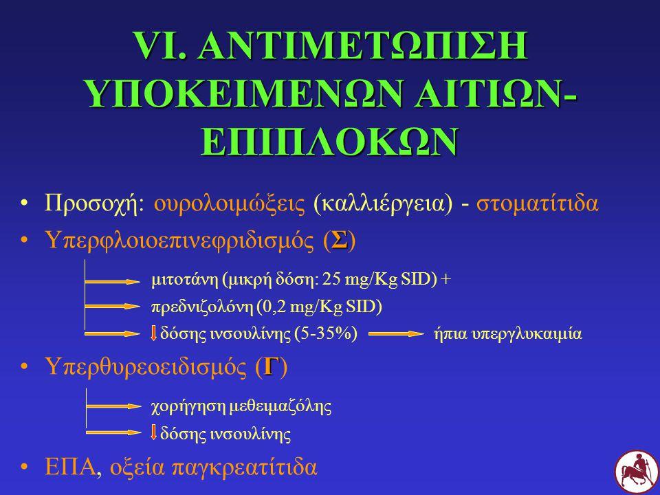 VI. ΑΝΤΙΜΕΤΩΠΙΣΗ ΥΠΟΚΕΙΜΕΝΩΝ ΑΙΤΙΩΝ- ΕΠΙΠΛΟΚΩΝ Προσοχή: ουρολοιμώξεις (καλλιέργεια) - στοματίτιδα ΣΥπερφλοιοεπινεφριδισμός (Σ) μιτοτάνη (μικρή δόση: 2