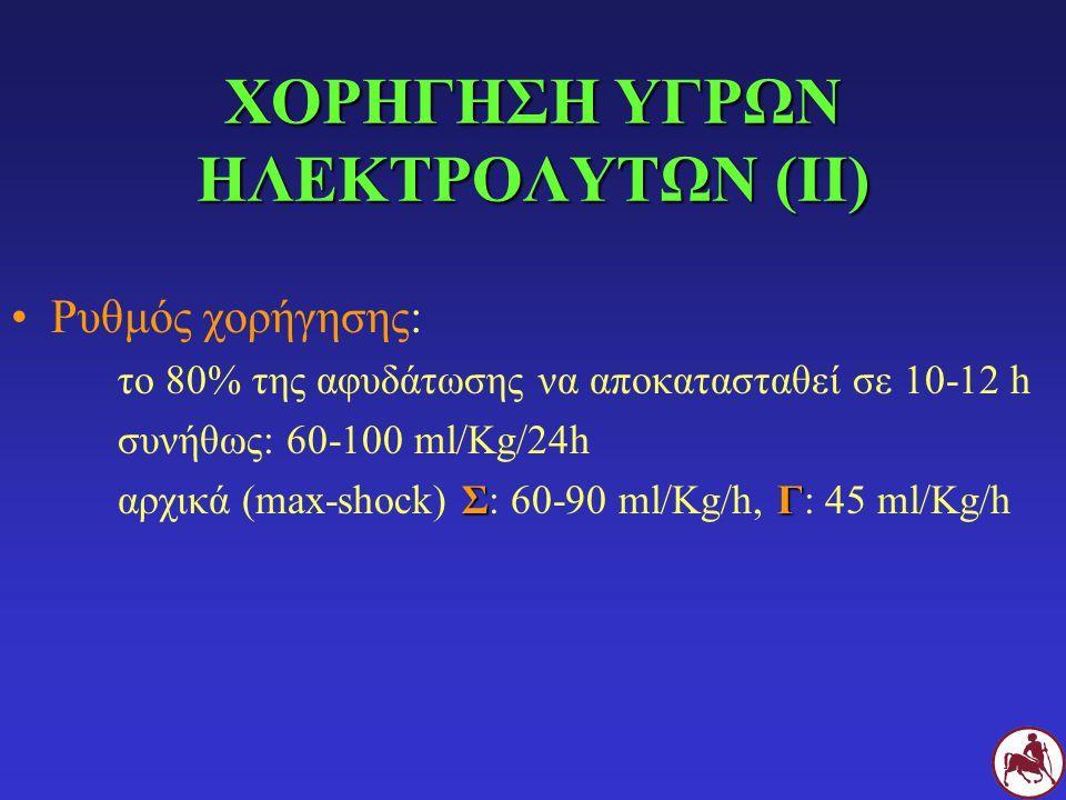 ΧΟΡΗΓΗΣΗ ΥΓΡΩΝ ΗΛΕΚΤΡΟΛΥΤΩΝ (ΙΙ) Ρυθμός χορήγησης: το 80% της αφυδάτωσης να αποκατασταθεί σε 10-12 h συνήθως: 60-100 ml/Kg/24h ΣΓ αρχικά (max-shock) Σ