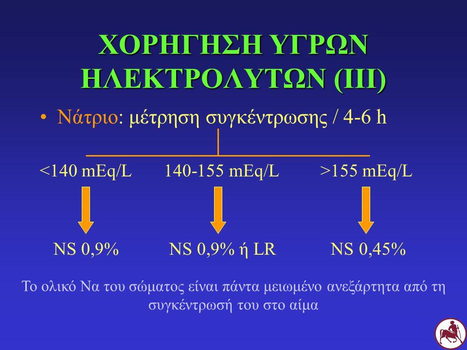 ΧΟΡΗΓΗΣΗ ΥΓΡΩΝ ΗΛΕΚΤΡΟΛΥΤΩΝ (ΙΙΙ) Νάτριο: μέτρηση συγκέντρωσης / 4-6 h 155 mEq/L NS 0,9% NS 0,9% ή LR NS 0,45% Το ολικό Να του σώματος είναι πάντα μει